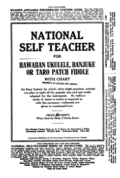 National Self Teacher for Hawaiian Ukulele, Banjuke or Taro Patch Fiddle