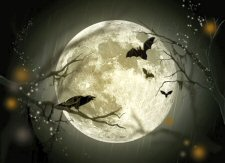 picture of moon with bats & raven