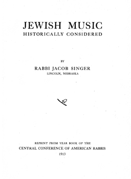 Jewish Music Historically Considered