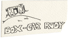 "Ink drawing on Rudy Umland's Hobo's ""calling card."""