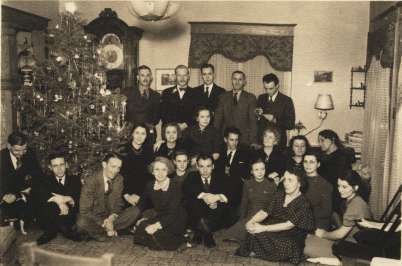 Photo: Writers' Project Christmas party at Jake Gable's house