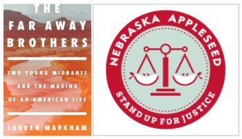 The Far Away Brothers cover image + Nebraska Appleseed logo