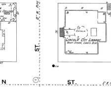 Excerpt from a historical map of downtown Lincoln