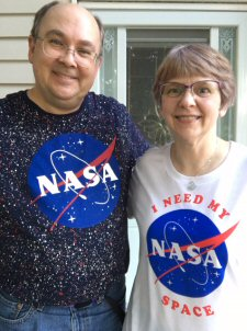 photo of Scott and Becky in Nasa shirts