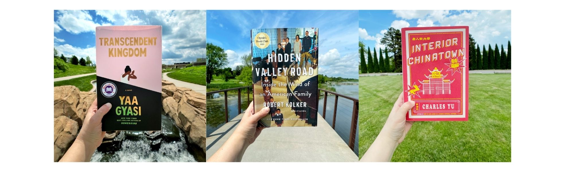 book cover images held up in front of scenic backdrops