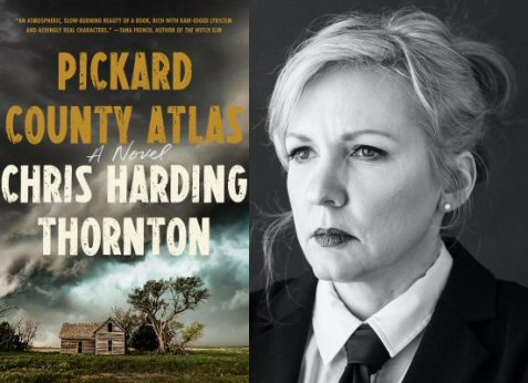 """cover image of """"Pickard County Atlas"""" and photo of author Chris Harding Thornton"""