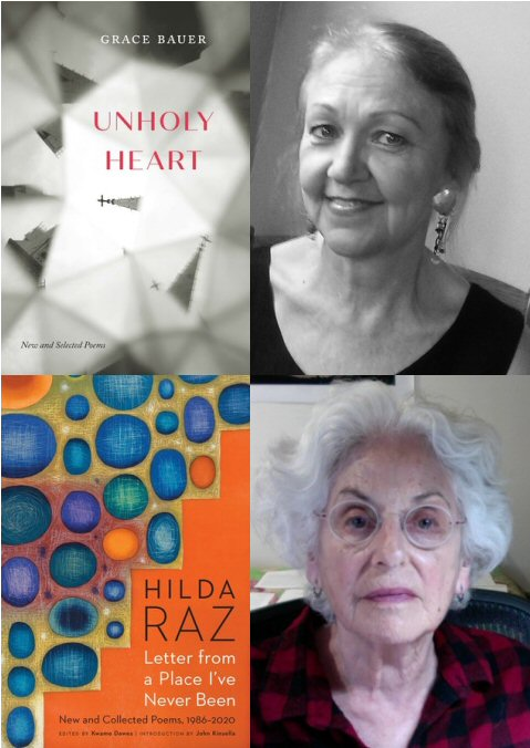"""Book cover image for """"Unholy Heart"""" with photo of author Grace Bauer, and book cover image for """"Letter from a Place I've Never Been"""" with photo of author Hilda Raz"""